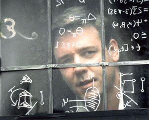 Dr. John Nash interpretado por Russell Crowe en Una mente brillante, Ron Howard, 2001