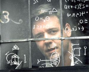 Dr. John Nash interpretado por Russell Crowe en Una mente brillante, Ron Howard, 2001