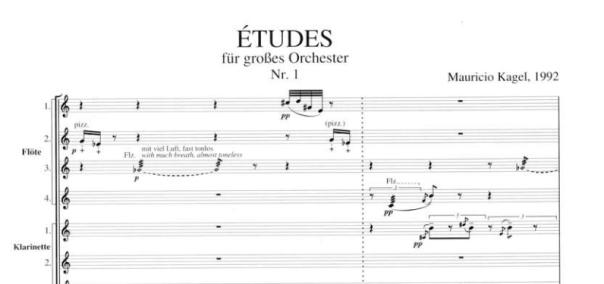 Tres estudios para gran orquesta de Mauricio Kagel